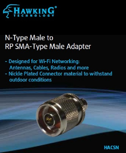 HACSN N-Type Male to RP SMA-Type Male Antenna Adapter