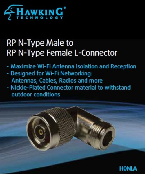 HONLA RP N-Type Male to RP N-Type Female Antenna L Adapter